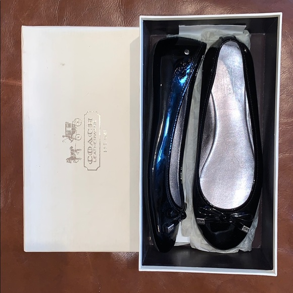 Coach Shoes - Coach Dotty Patent Leather Black Flats
